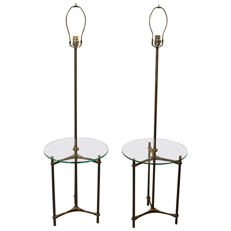 of laurel lamp co brass and glass table top floor lamps at 1stdibs. Black Bedroom Furniture Sets. Home Design Ideas