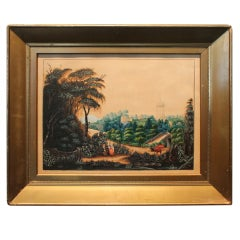 1855 Folk Art Landscape Painting