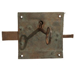 Large 19th Century Hand Forged Lock and Key