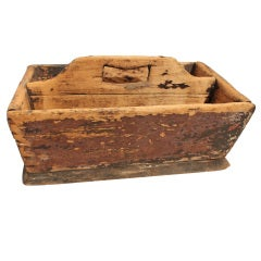19th Century Distressed Primitive Painted Pine Tote