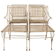 Set of 4 1950's Sculptural Iron Garden Chairs