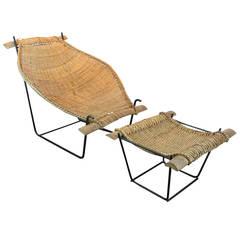 Duyan Rattan Lounge Chair and Ottoman by John Risley