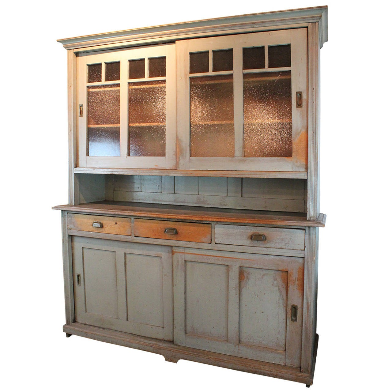 German Painted Two Piece Baker S Cabinet At 1stdibs