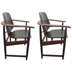 Pair of Danish 1960s Armchairs Designed by Arne Hovmand - Olsen