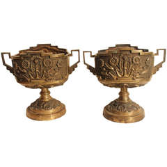 Pair of Bronze Art Deco Urns