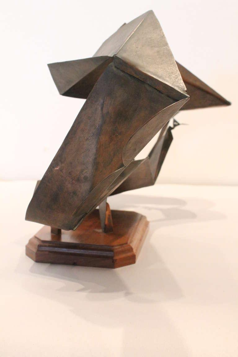 copper modernist origami angular sculpture at 1stdibs. Black Bedroom Furniture Sets. Home Design Ideas
