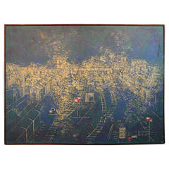 1960s Karl Mann & Associates Abstract Train Yard Painting