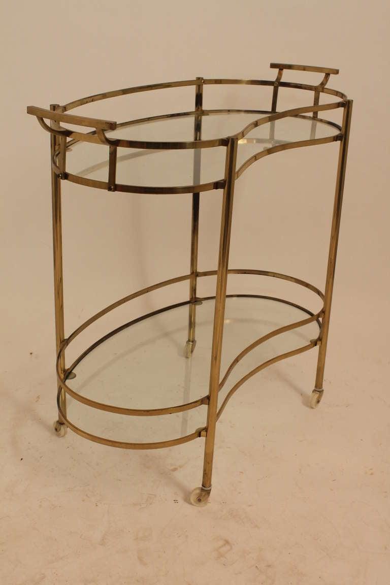 Mid Century Brass Sculptural Rolling Bar Cart At 1stdibs