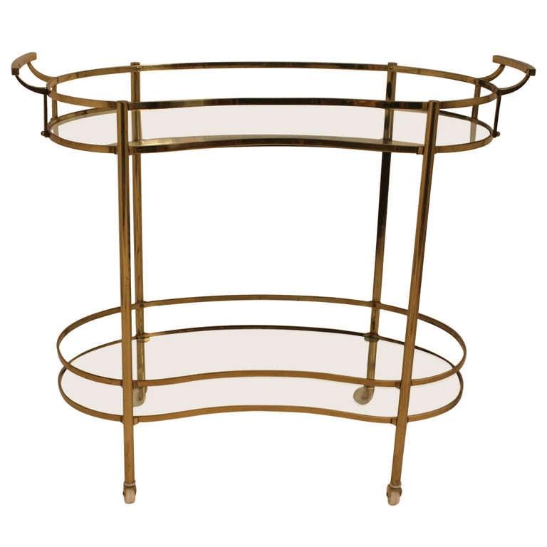 Mid Century Brass Sculptural Rolling Bar Cart