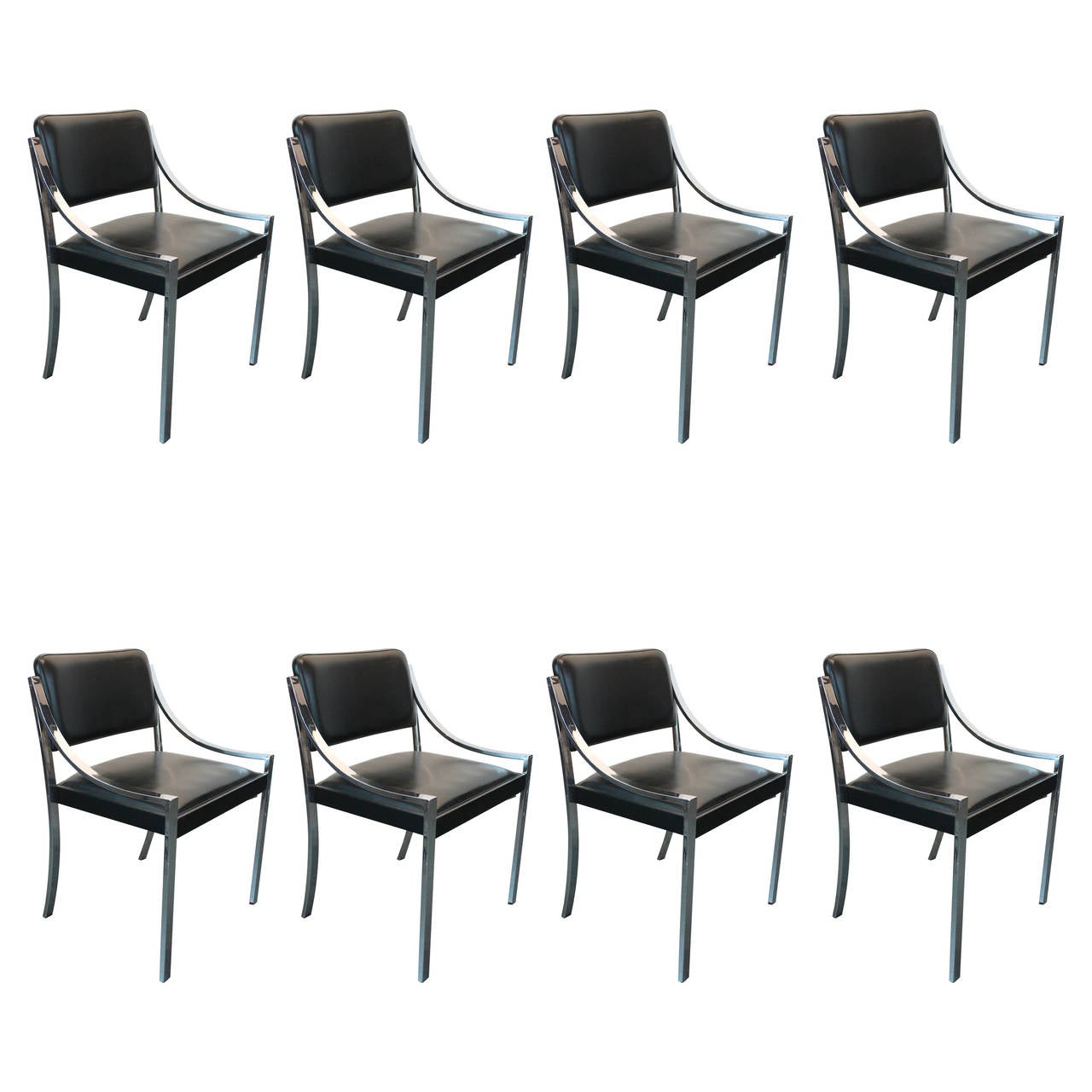 this set of eight 1970s chrome dining chairs is no longer available
