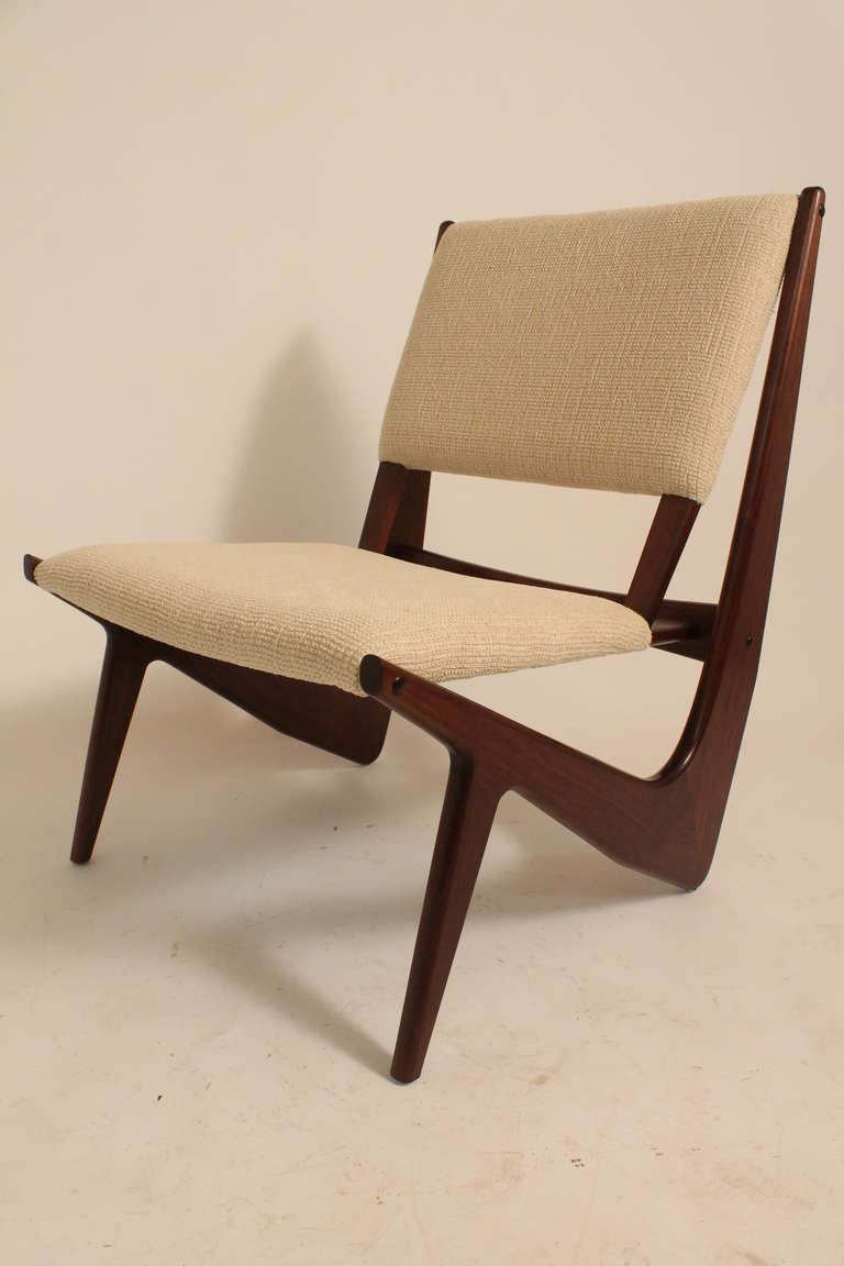 Pair of Sculptural Mid  Century Moderne Lounge Chairs at