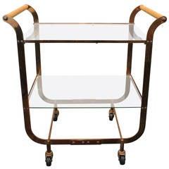 Copper Art Deco 2 Tiered Bar Cart