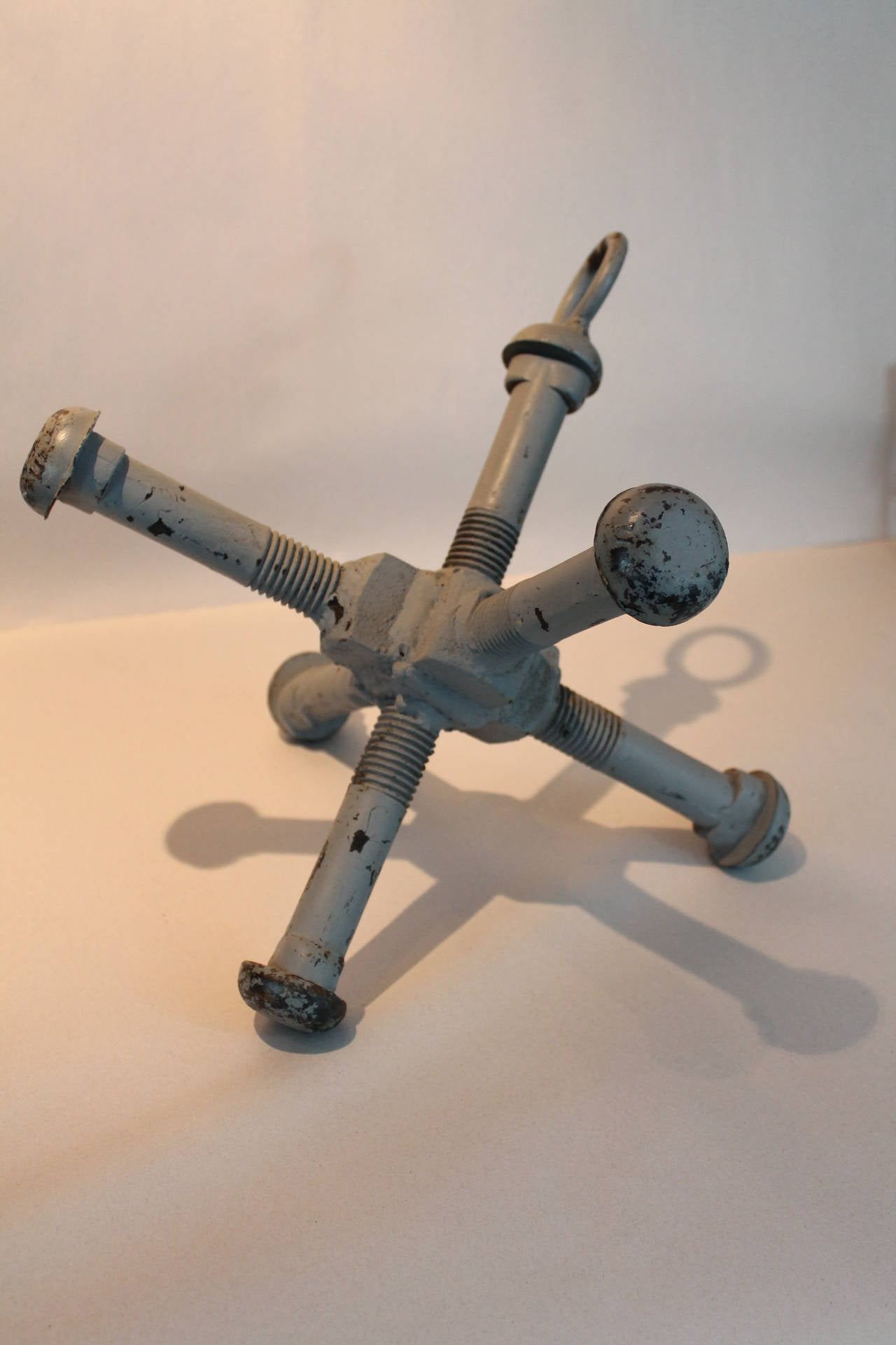 Sculptural Folk Art Handmade Large Iron Bolt Anchor At 1stdibs
