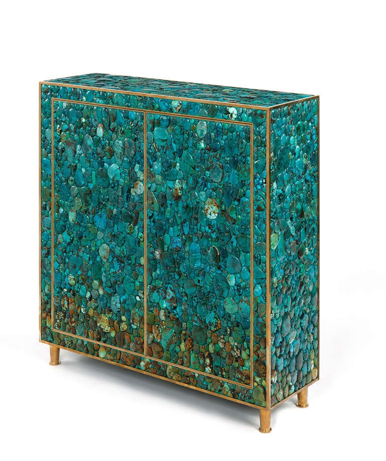 Turquoise Cabinet by Kam Tin In Excellent Condition For Sale In Paris, FR