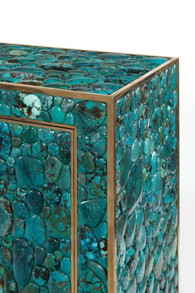 Contemporary Turquoise Cabinet by Kam Tin For Sale