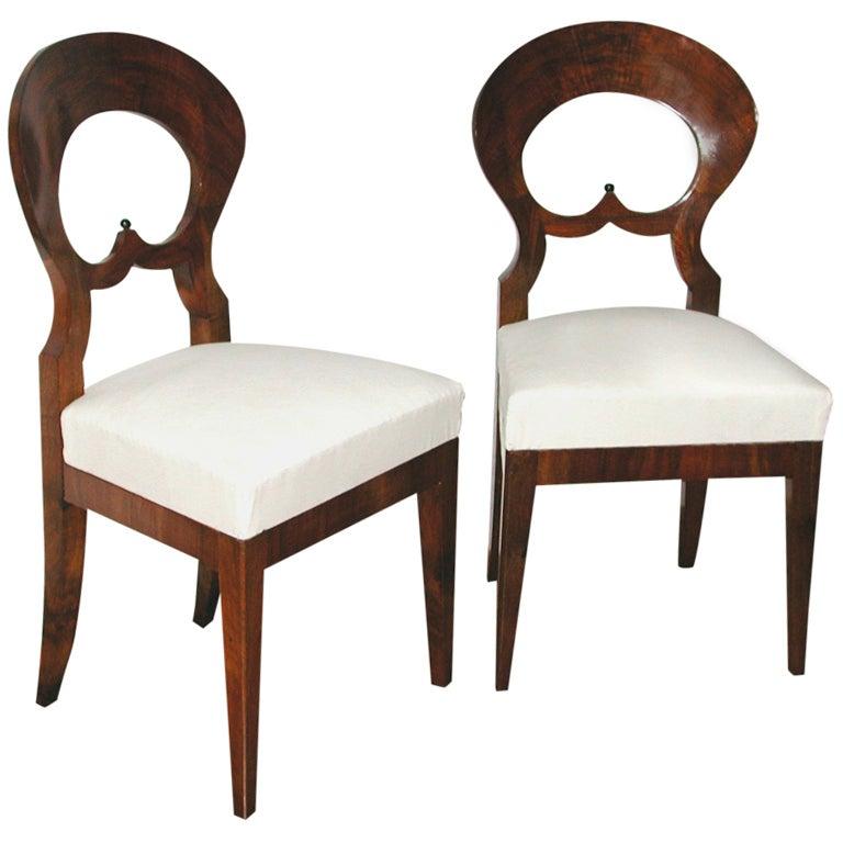 Classical Elegance Pair Of Austrian Walnut Biedermeier Chairs At 1stdibs