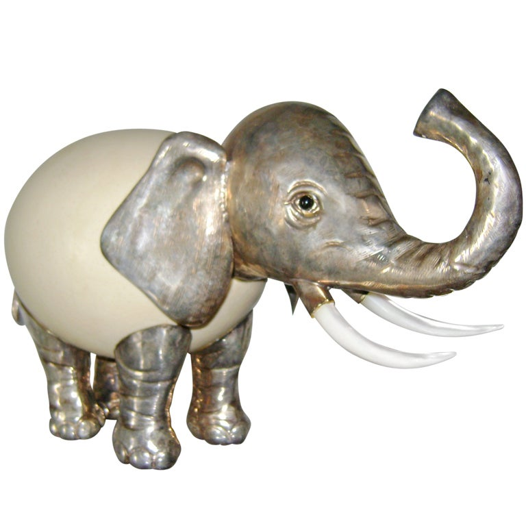 Anthony Redmile Silver And Ostrich Egg Elephant Sculpture