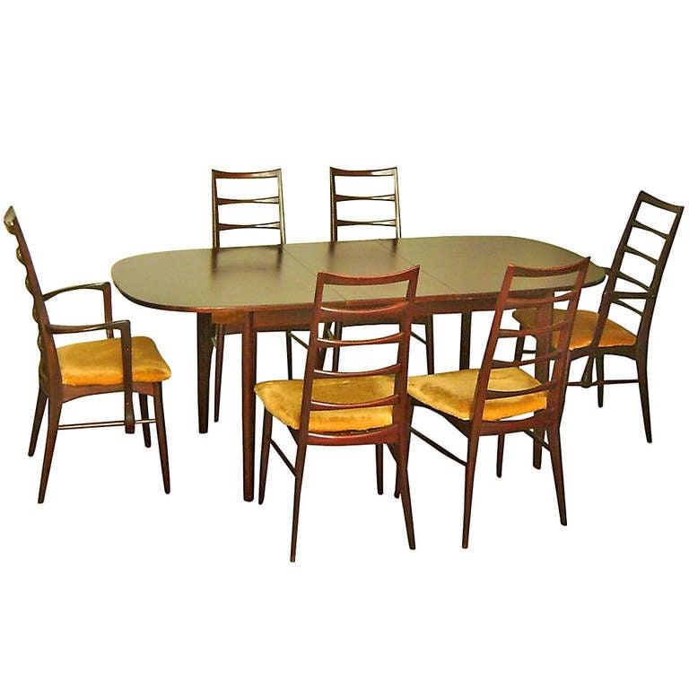 Danish Dining Room Set: Neils Koefoeds For Hornslet Danish Mid Century Modern
