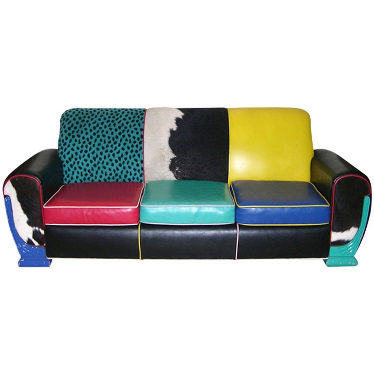 Eames Era Multicolor Mid Century Modern 1970th Sofa At