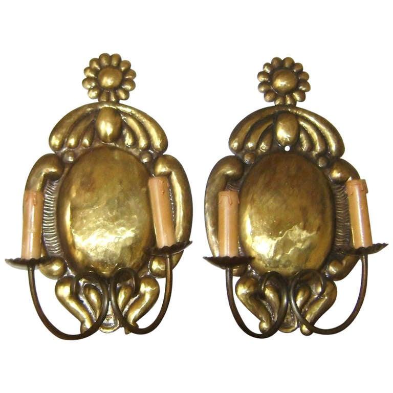 Handmade Brass Wall Lights : Pair of 19 c Austrian Brass Handmade Wall Sconces at 1stdibs