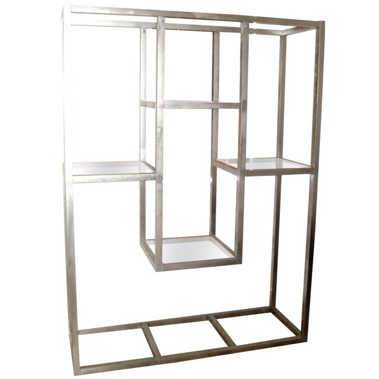 milo baughman geometric metal vitrine etagere at 1stdibs. Black Bedroom Furniture Sets. Home Design Ideas