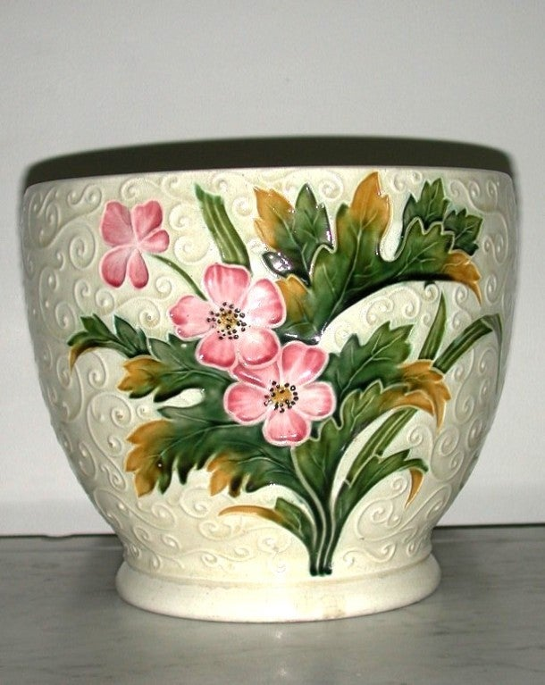 Austrian Art Nouveau Cachepot Majoica Flower Pot Planter