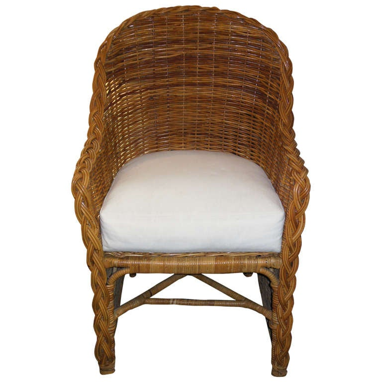 Michael Taylor Wicker Arm Chair At 1stdibs