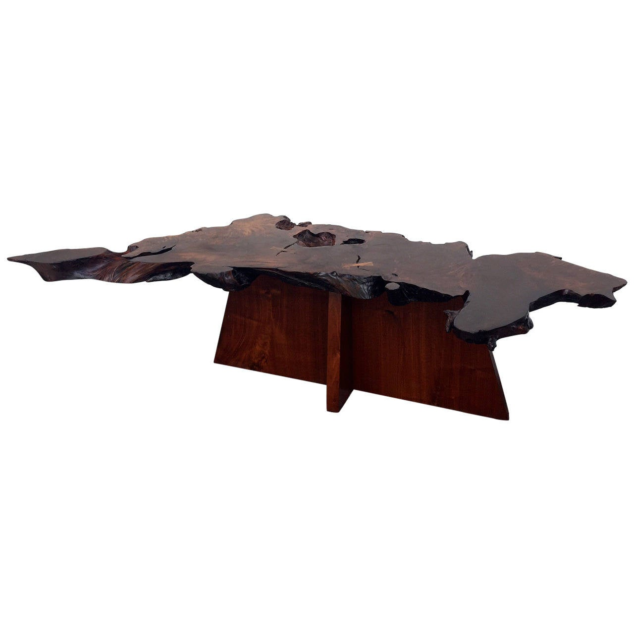 Rare and Exceptional Walnut and Redwood Root Coffee Table by Mira