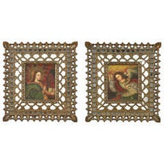 Pair of Antique Spanish Colonial Paintings with Gilt and Mirror Mosaic Frames
