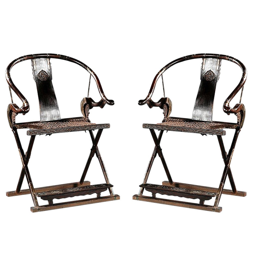 Pair of Antique Chinese Horseshoe Back Folding Chairs 1 - Pair Of Antique Chinese Horseshoe Back Folding Chairs For Sale At