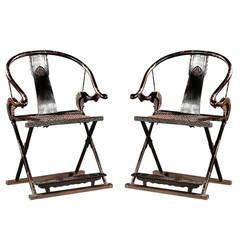 Pair of Antique Chinese Horseshoe Back Folding Chairs