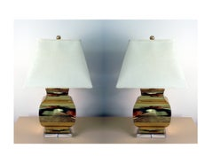 Pair Large Modern geometrical urn shape Brass Lamps