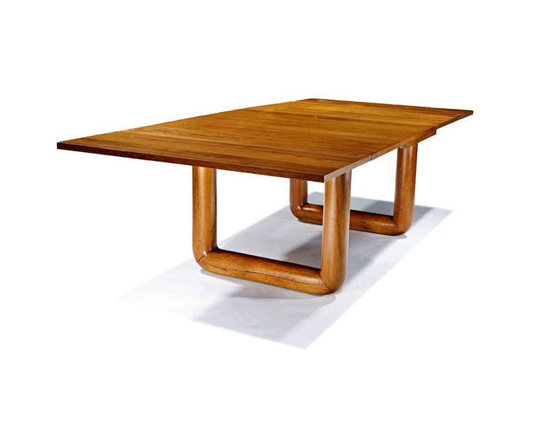 french oak dining table with extension leaves by jean