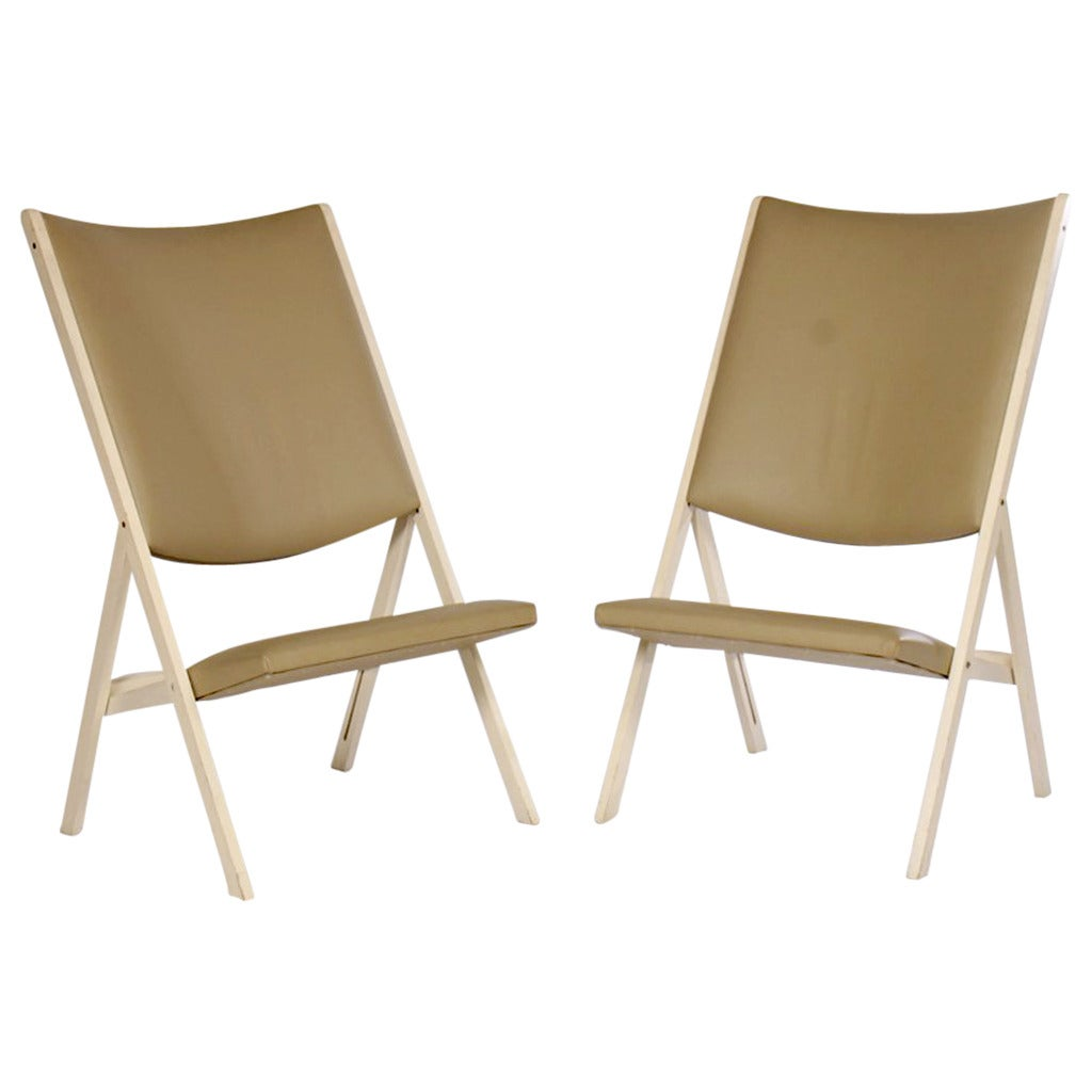 Pair of Gabriella Folding Chairs by Gio Ponti For Sale
