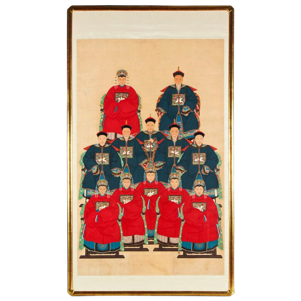 Monumental Framed Antique Chinese Ancestors Painting