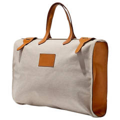 Large Toile and Leather Hermes Traveling Bag