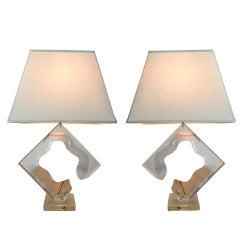 Pair Of Vintage Sculptural Lucite Table Lamps Van Teal