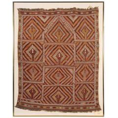 Framed Vintage Turkish Rug with Striking Geometrical Patterns