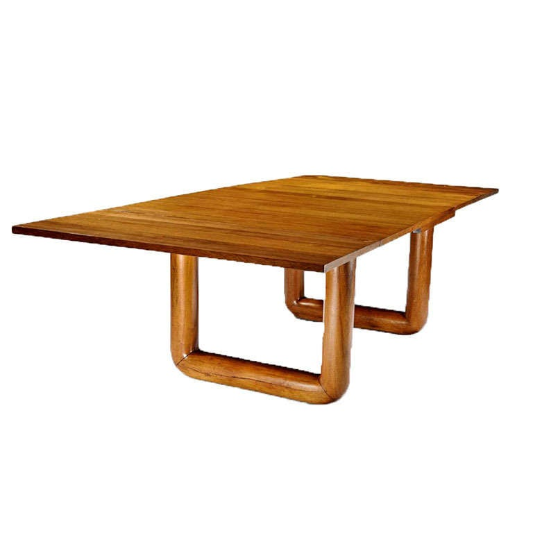 French Oak Dining Table With Extension Leaves By Jean Royere For Sale
