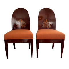 A Pair of Antique Biedermeier Side Chairs with Shell Inlay