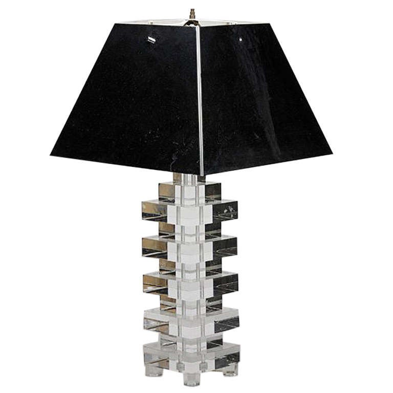 Lucite Table Lamp With Chrome Metal Shade Karl Springer