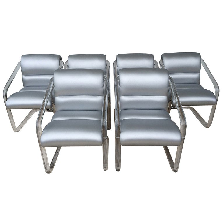 Set of Six Signed Lucite and Chrome Chairs by Lion in Frost For Sale