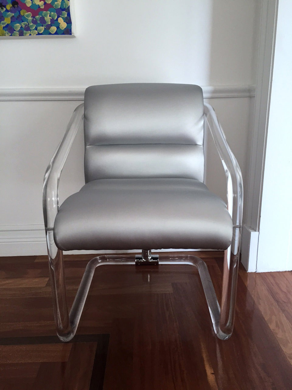 Set of Six Signed Lucite and Chrome Chairs by Lion in Frost In Good Condition For Sale In North Miami, FL