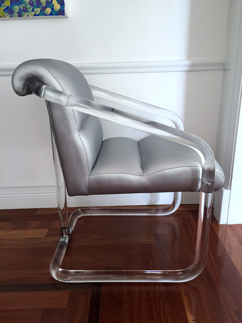 Late 20th Century Set of Six Signed Lucite and Chrome Chairs by Lion in Frost For Sale