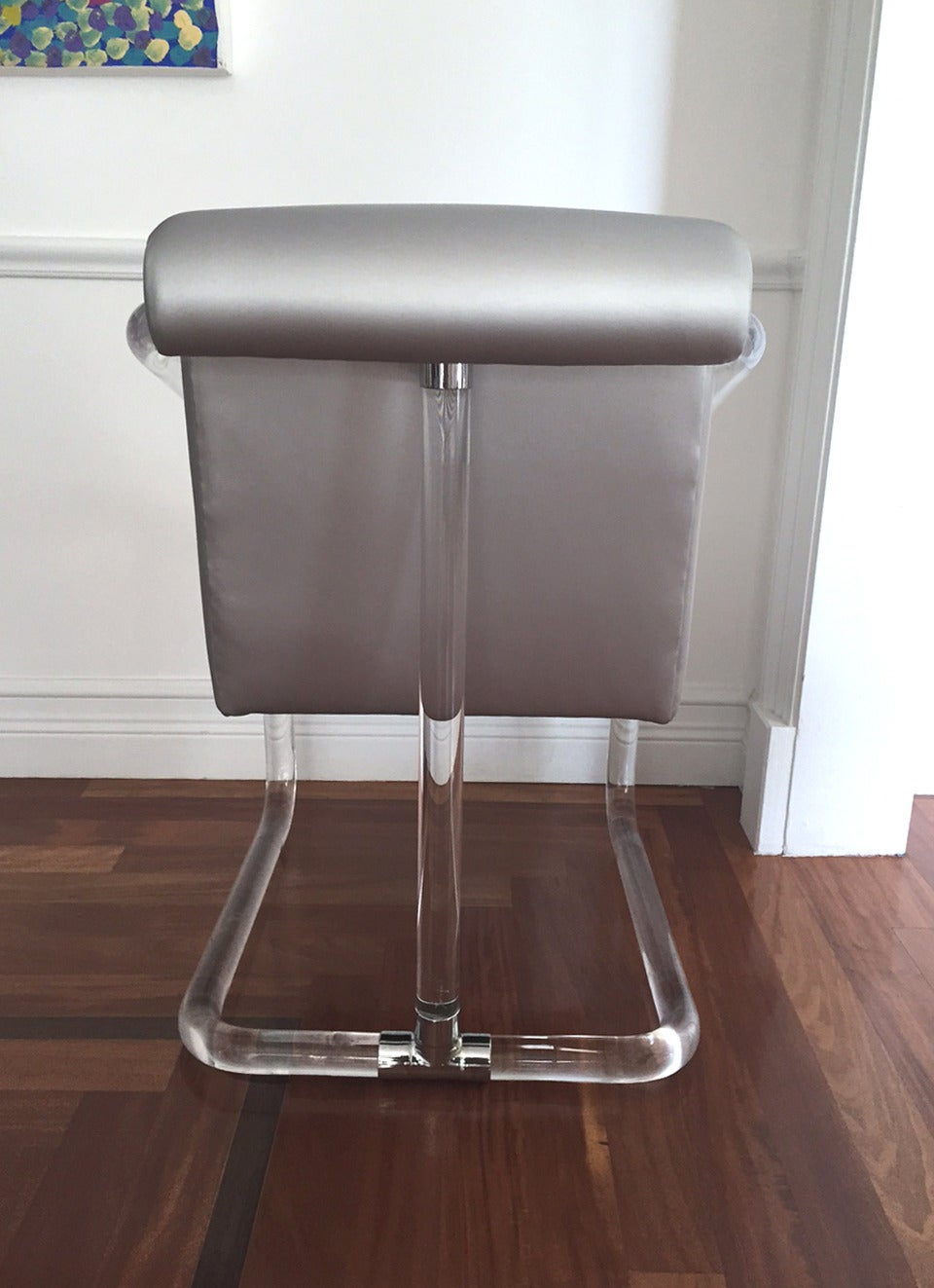 Fabric Set of Six Signed Lucite and Chrome Chairs by Lion in Frost For Sale