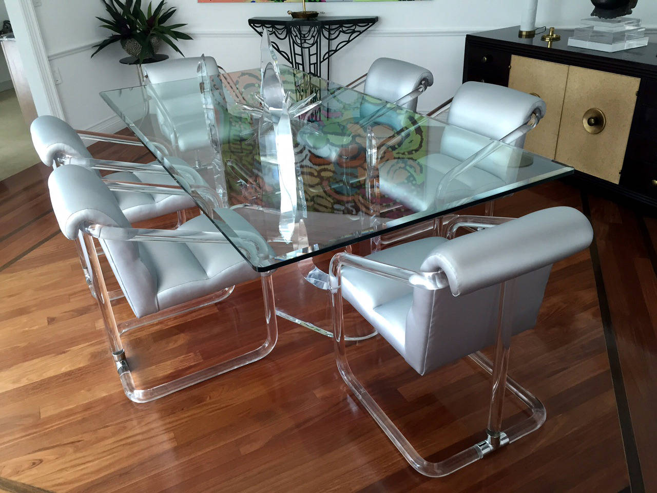 American Set of Six Signed Lucite and Chrome Chairs by Lion in Frost For Sale