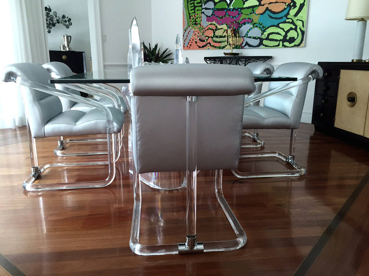 Modern Set of Six Signed Lucite and Chrome Chairs by Lion in Frost For Sale