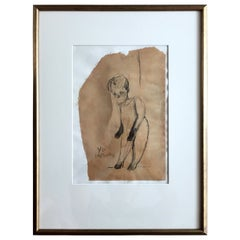 Framed Drawing by Mexican Artist José Luis Cuevas