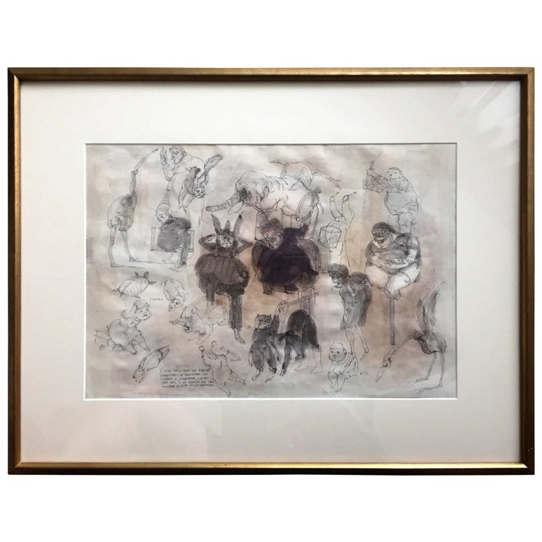 Framed Drawing by Mexican Artist José Luis Cuevas For Sale