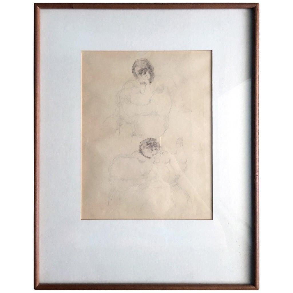Framed Drawing by Mexican Artist José Luis Cuevas